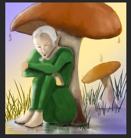 Elf under Mushroom